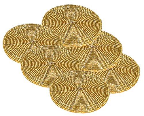 (SKAVIJ Coasters Set 6 Pieces Coaster Drink Vintage Set Gold Round Handmade Coffee Tea Cup Table - 4 Inch)