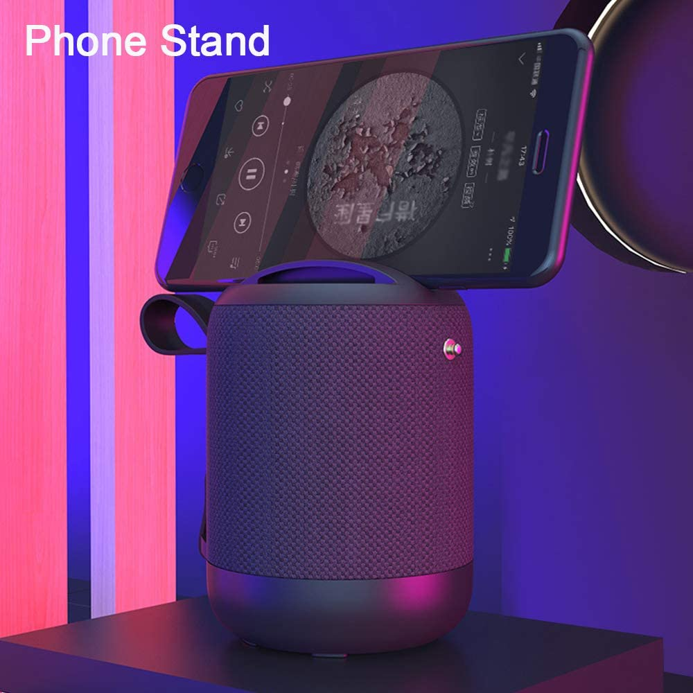 Hands-Free Calls IPX5 Splashproof TF//AUX//USB Port Pocket Design Wireless Stereo Pairing Black Bluetooth 5.0 Wireless Speakers with Powerful Sound Built in Mic FM Radio 12-Hour Playtime