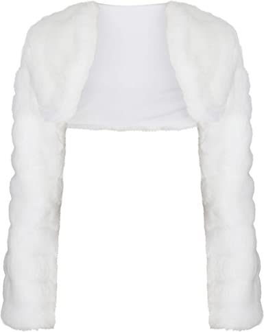 New Flower Girls First Holy Communion Faux Fur Bolero Jacket Shrug Age 7-13yrs