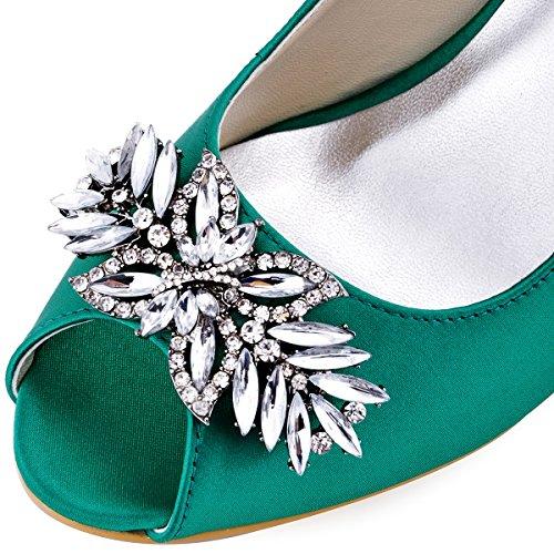 Novia Mid Zapatos Tacon Hebilla Hp1540 Elegantpark Pupms Clips Toe Rhinestones Peep Teal Leaves Boda Saten Mujer 0AqBOwaC