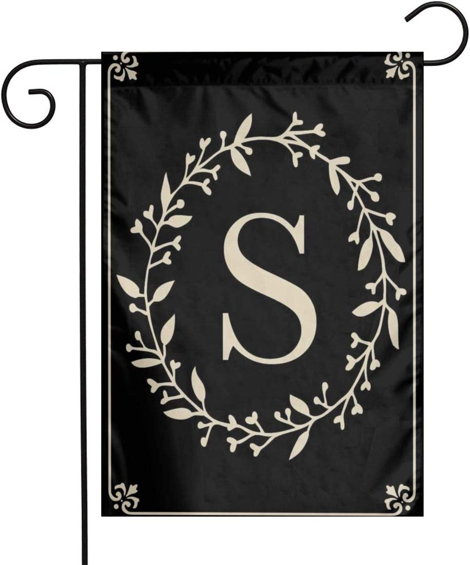MSGUIDE Classic Monogram Letter S Garden Flag Flower House Yard Decoration 12x18 Inch for Outdoor Balcony