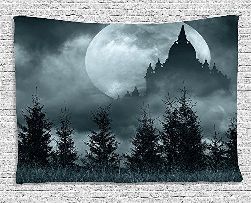 asddcdfdd Halloween Tapestry, Magic Castle Silhouette over Full Moon Night Fantasy Landscape Scary Forest, Wall Hanging for Bedroom Living Room Dorm, 80 W X 60 L Inches, Grey Pale -