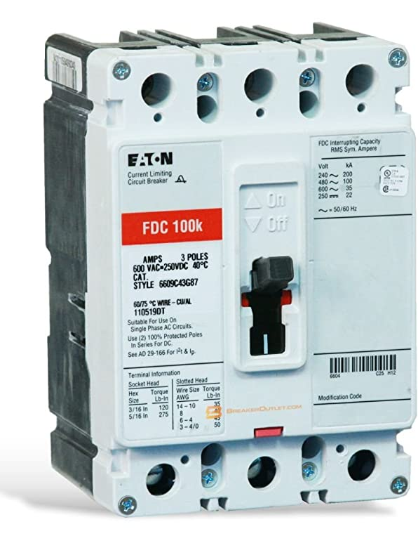 New Cutler-Hammer Eaton FDC3100 Circuit Breaker 3 Pole 100A 600V FDC ...