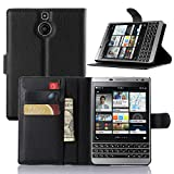 Passport Wallet Case,IVY BlackBerry Passport Silver Edition PU Leather Case Wallet Phone Case [Litchi Grain] for BlackBerry Passport Silver Edition - Black