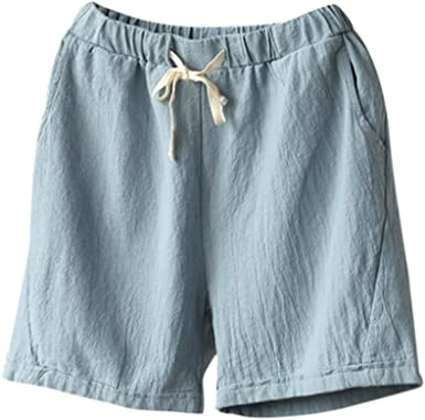 Fudule Women's Shorts Pants Elastic Waist Cotton Linen Stretch Shorts for  Women Summer Casual Drawstring Short Trousers at Amazon Women's Clothing  store