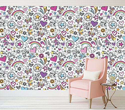 girly-notebook-drawings-peel-and-stick-wallpaper-adhesive-vinyl-wallpaper-pattern-wallscape-removabl