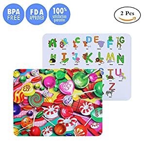 Placemat for Kids Portable Non Slip Mat Children's Food Meal Mat Reusable Travel Washable and Long-Lasting Dishwasher Safe FDA Approved BPA Free Silicone Feeding Mats