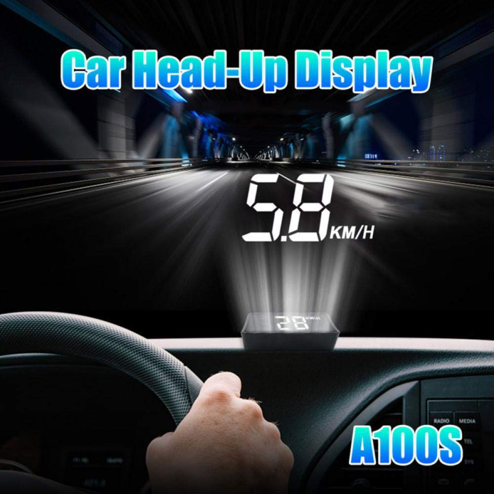 Car Accesories Speedometer A100S HUD Head Up Display Overspeed Warning System Projector Windshield Auto Electronic Voltage Alarm