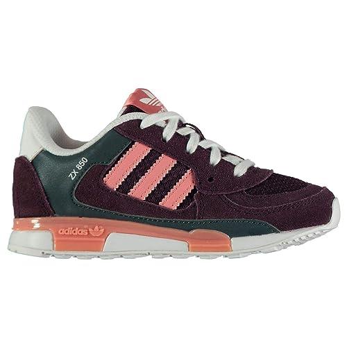 f92b4971a440 Adidas Originals ZX 850 Trainers Girls Purple Peach Shoes Footwear ...