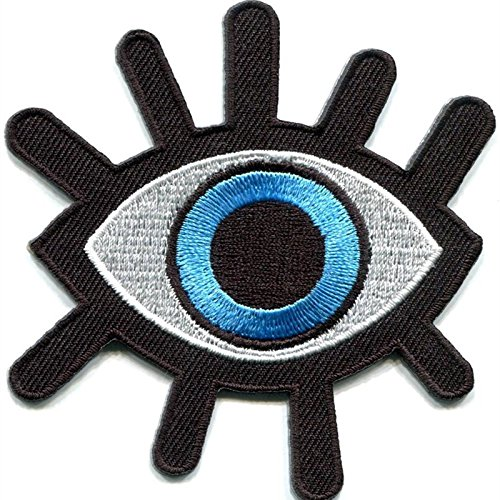[FairyMotion 2 Pcs New Eye Eyeball Tattoo Wicca Occult Goth Punk Retro Embroidered Applique Iron-On Biker Vest Patch Perfect] (Fairy Wing Tattoos)