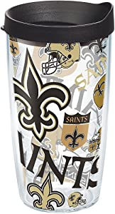 Tervis NFL New Orleans Saints All Over Tumbler with Wrap and Black Lid 16oz, Clear