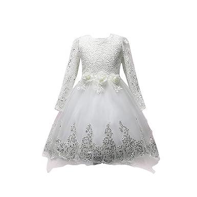 Feicuan Girls Flower Dresses, Asymmetric Lace Bowknot Long Sleeve Kids Wedding Bridesmaid Party Princess Dress