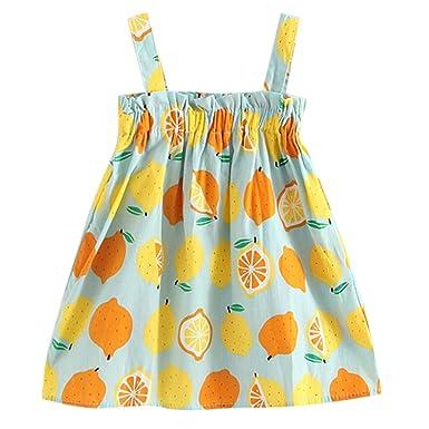 0e3b216b8cd7 Baby Girl Sling Dress, CSSD 1-5 Year Old Girl Fruit Print Dress Kids