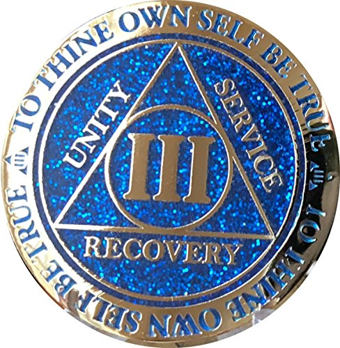 RecoveryChip 3 Year AA Medallion Reflex Blue Glitter Gold Plated Color Chip -