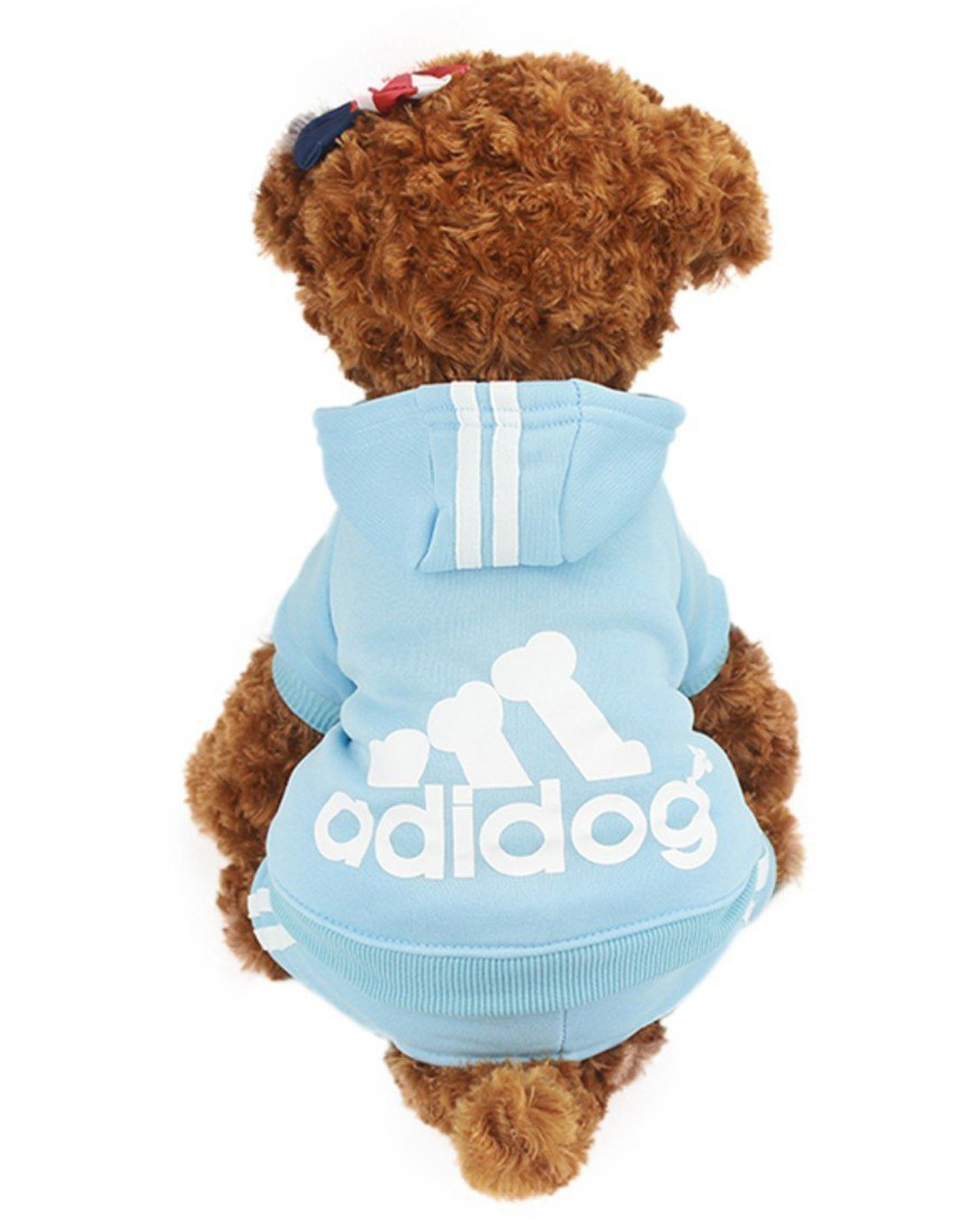 GabeFish Puppy Print Sweatshirt Dogs Hoodies Warm For Small Pets Four Legs Clothes Cats Sports Jackets 7 Optional Blue X-Small