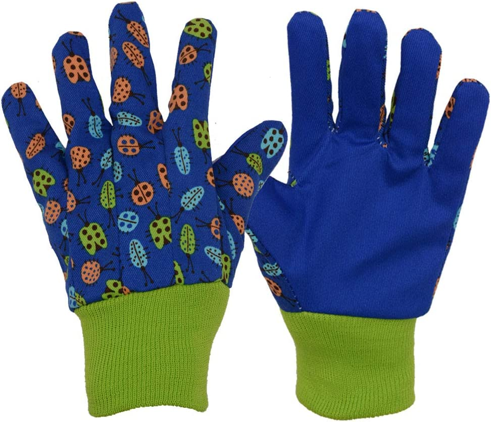 3 Pairs Soft & Comfortable Design for Kids Gardening Gloves,Yard Garden Work Gloves (Small, Blue Insects)