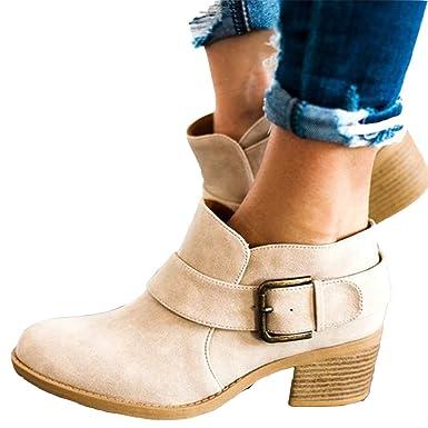 8eef52eeb3d8 Amazon.com  Women s Buckle Strap Ankle Booties Chunky Low Heel ...