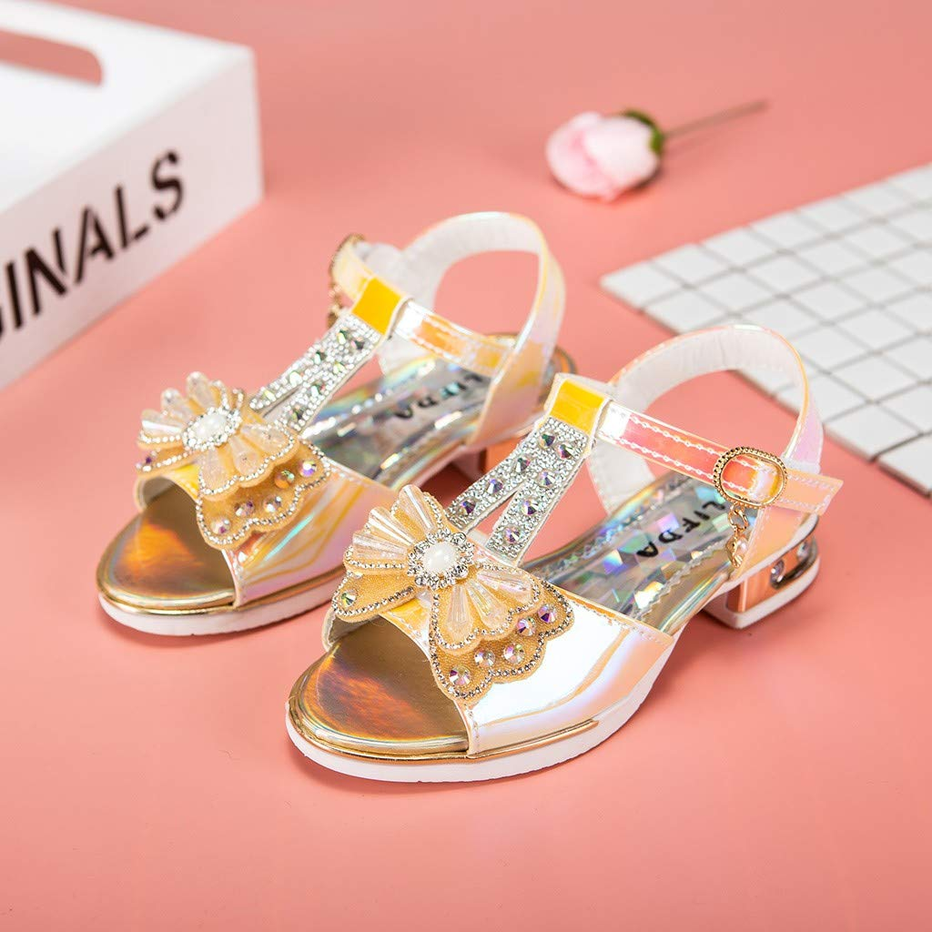 Summer Baby Girls Crystal Bowknot Pearl Princess Sandals Casual Shoes Voberry