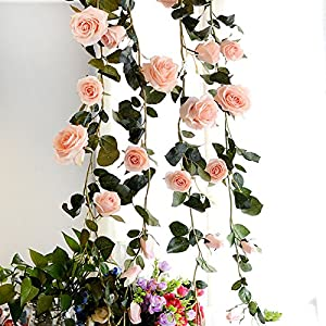 FYYDNZA 180Cm Artificial Rose Flower Ivy Wedding Decoration Real Touch Silk Flowers Chain With Leaves For Home Garland Hanging Decoration,Pink 20