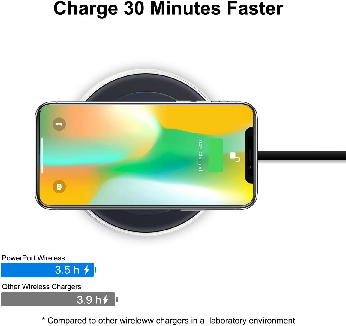 Wireless Charger SAMMIX Fast Wireless Charger for Galaxy S9 // S9 // Note 8 // S8 // S8 // S7 // Edge//Note 5 // S6 Edge Plus//iPhone X // 8 Plus // 8 All Qi Enable Devices