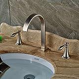 Rozin Double Handles Bathroom Basin Faucet Widespread 3 Holes Sink Mixer Tap