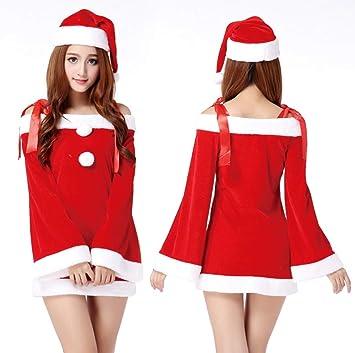 0440a673f5 WFTD Navidad Santa Claus Traje de Las Mujeres de Hombro Vestido de Liguero  de la Falda