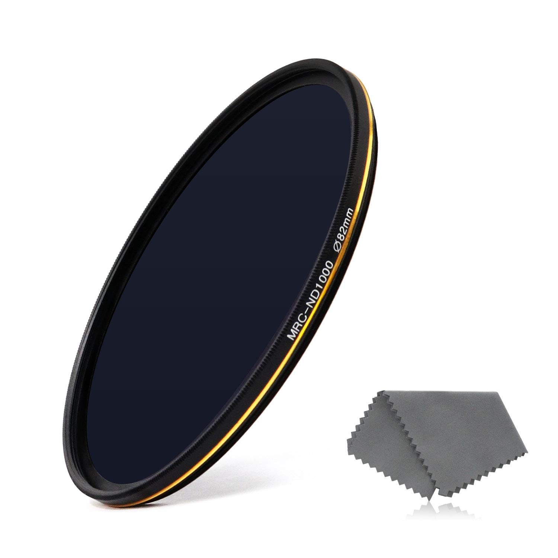 LENSKINS 82mm ND 1000 Filter, 10 Stop Neutral Density Filter for Camera Lenses, 16-Layer Multi-Resistant Coated, German Optics Glass, Weather-Seal ND Filter with Lens Cloth by LENSKINS