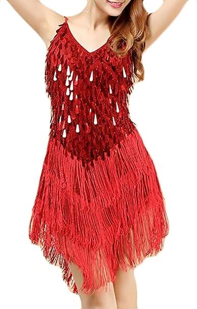 094f62d66a8d Amazon.com: JXG-Women Latin Sequins Tassel Dress Cocktail Salsa Dance Show  Costume Gold OS: Clothing