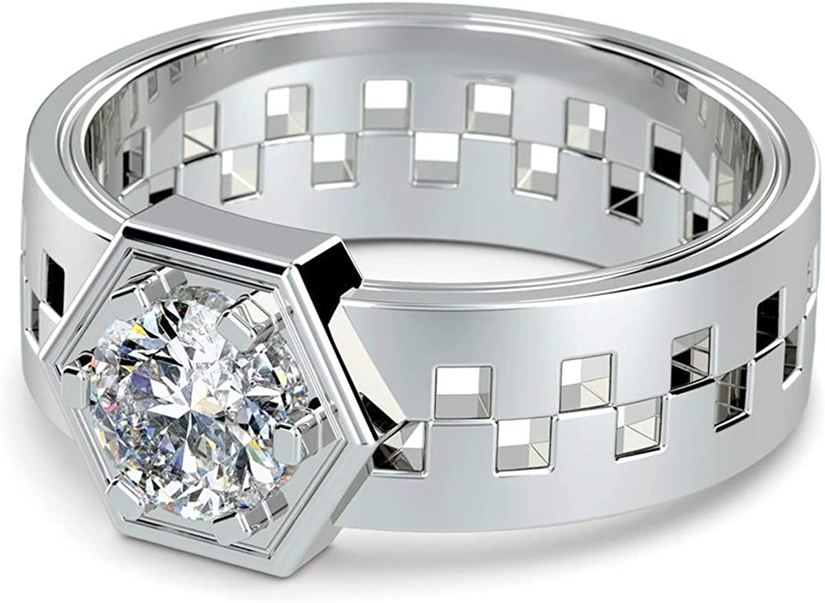 14K White Gold Plated 1.75 Ct Round Cut Simulated Diamond Hexagonal Shaped Mens Ring 12.5