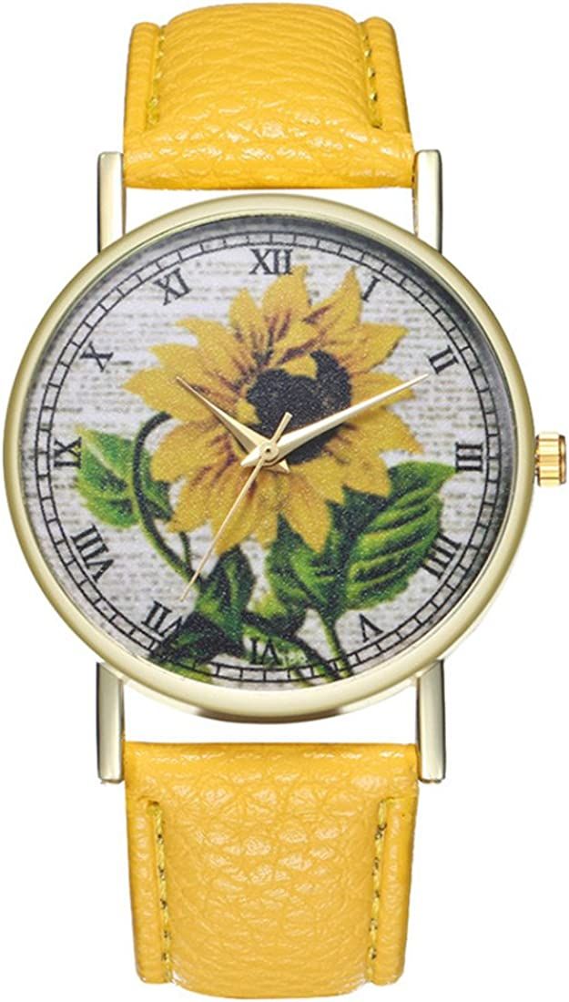Loweryeah Women Sunflower Pattern Casual Quartz Watch Print Dial Watch with Artificial Leather Band Yellow