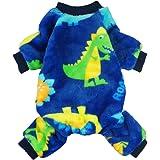 Fitwarm Dinosaur Pet Clothes for Dog Pajamas Coat Cat PJS Jumpsuit Soft Velvet Blue