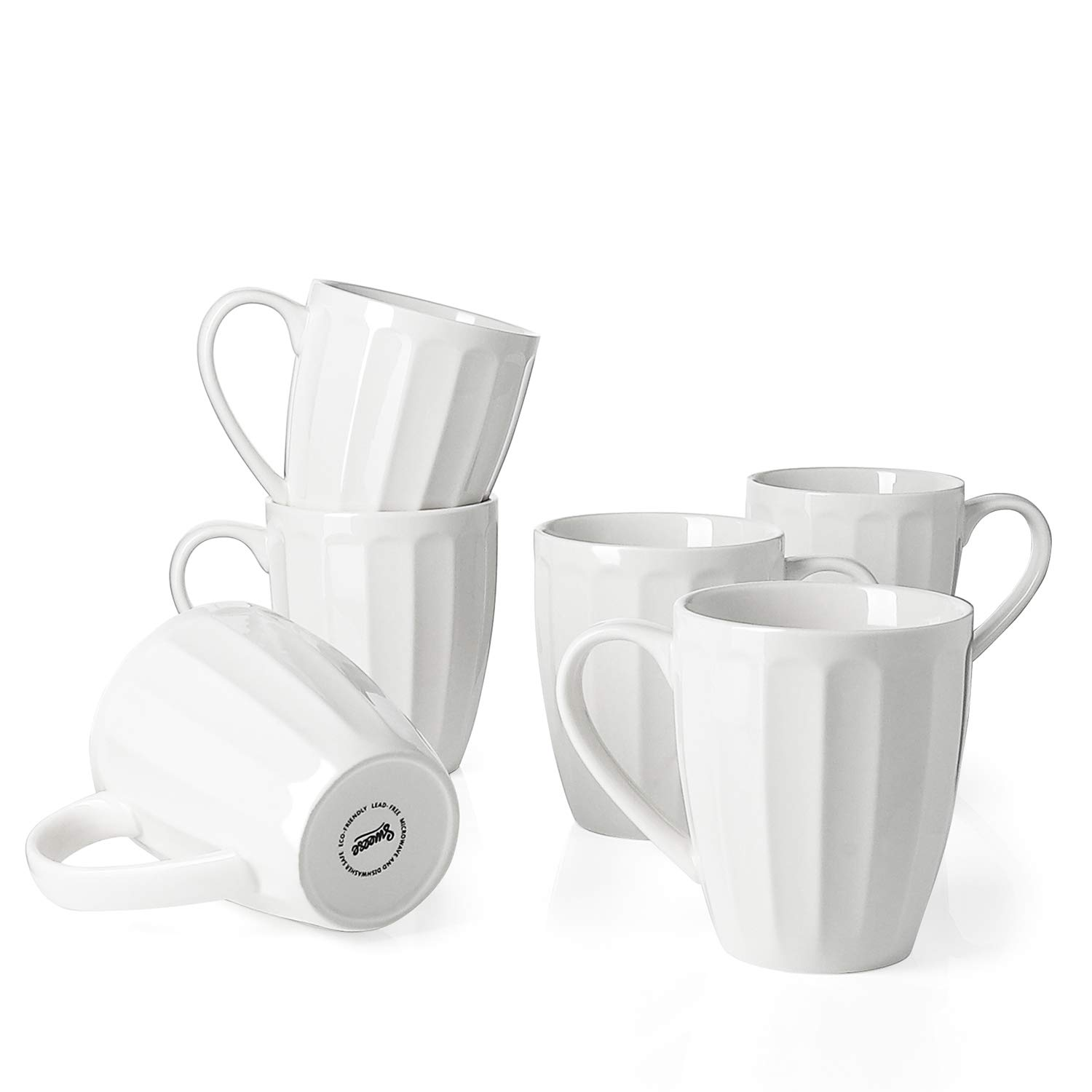 Sweese 6208 Porcelain Fluted Mugs - 14 Ounce for Coffee, Tea, Cocoa, Set of 6, White