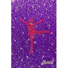 Journal: Faux purple glitter pink glitter figure skating notebook