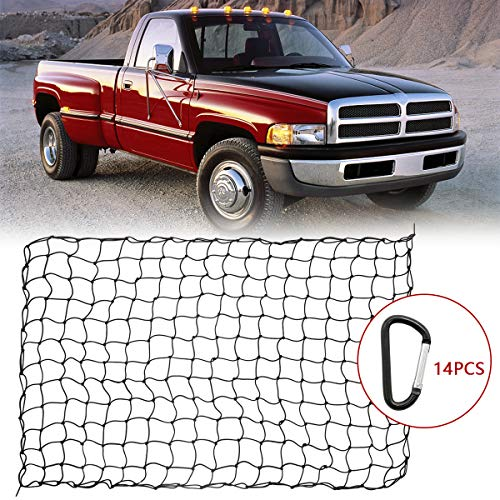 "4x6ft Bungee Cargo Net for Pickup Trucks, 5mm 4""X4"" Mesh Super Duty Stretches to 8x12ft Elasticated Mesh Net with 14Pcs D Clip Carabiners for Pickup Trucks SUV Beds Trailers"