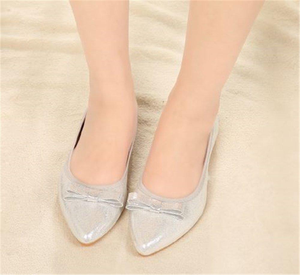 Cloudless Women's Foldable Ballet Flats Bow Dress Walking Flats B(M) Shoes B07FZV5WN9 38/7 B(M) Flats US Women|Silver ba291a