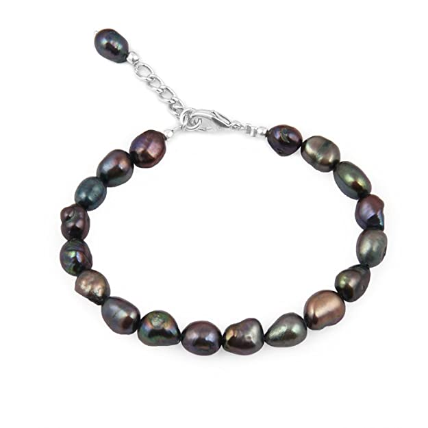 Pearlz Ocean Dyed Black Fresh Water Pearl 7.5 Inches Bracelet Bangles & Bracelets at amazon