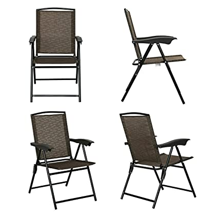 a8cbb2f975 Amazon.com : Heize best price Brown Set of 4 Folding Sling Chairs ...