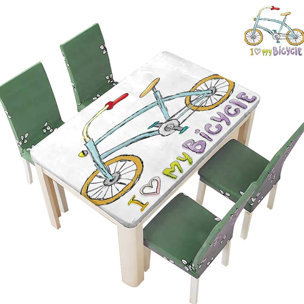Natural Tablecloth Love My Bicycle Quote Print Little Fashi able Kids Bike Pedals for Home Use, Machine Washable 54 x 120 Inch (Elastic Edge)
