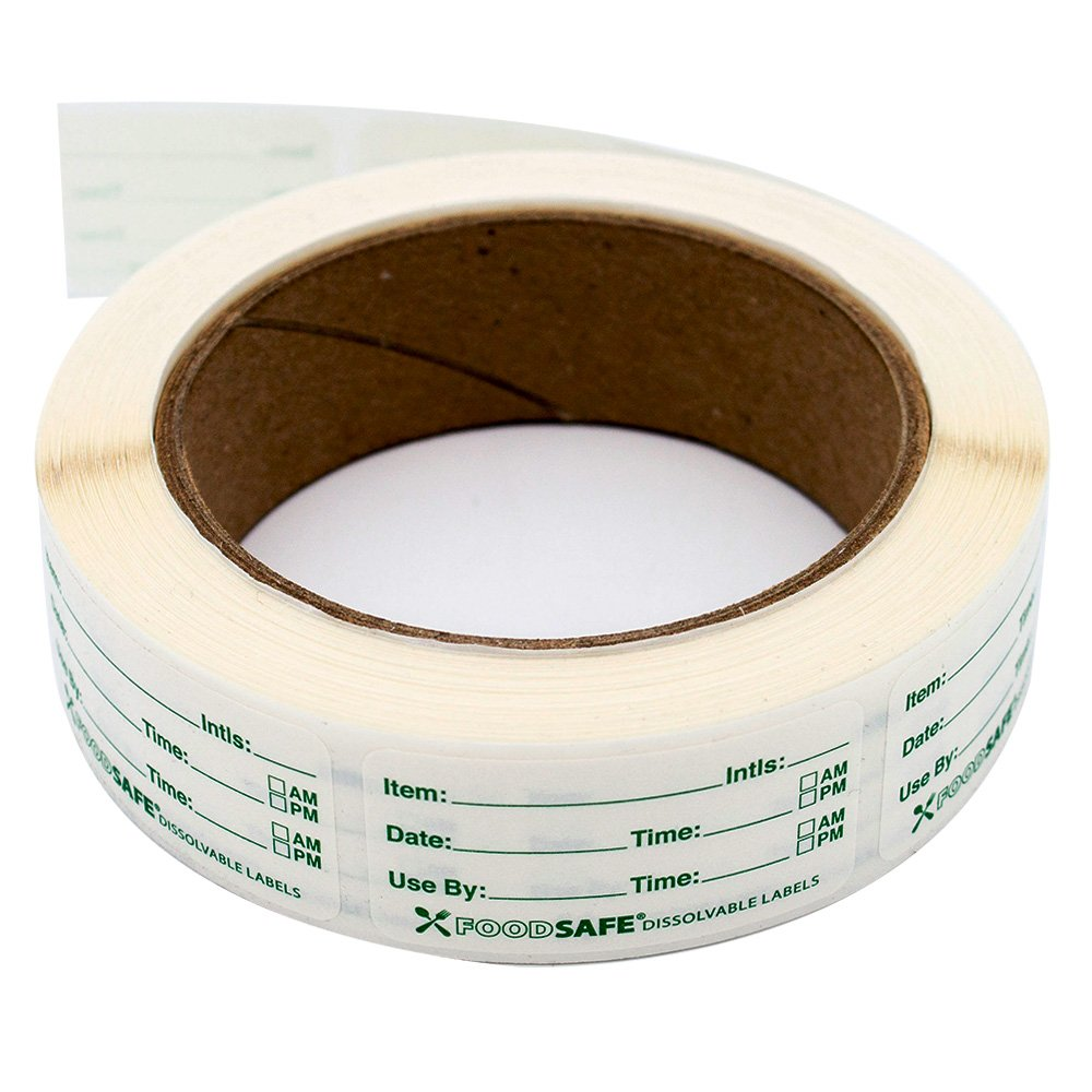 Dissolvable Food Labels by Food Safe - Leaves No Adhesive Residue Dissolves in Water In 30 Seconds Perfect for Reusable Containers - 500 Labels Per Roll