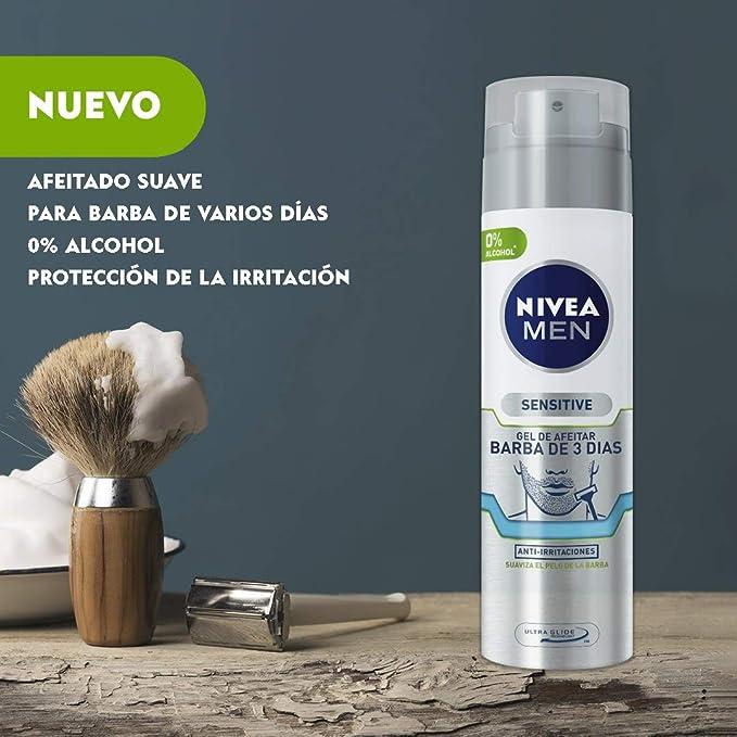 NIVEA MEN Sensitive Gel de Afeitar Barba de 3 Días 200 ml - 3 ...
