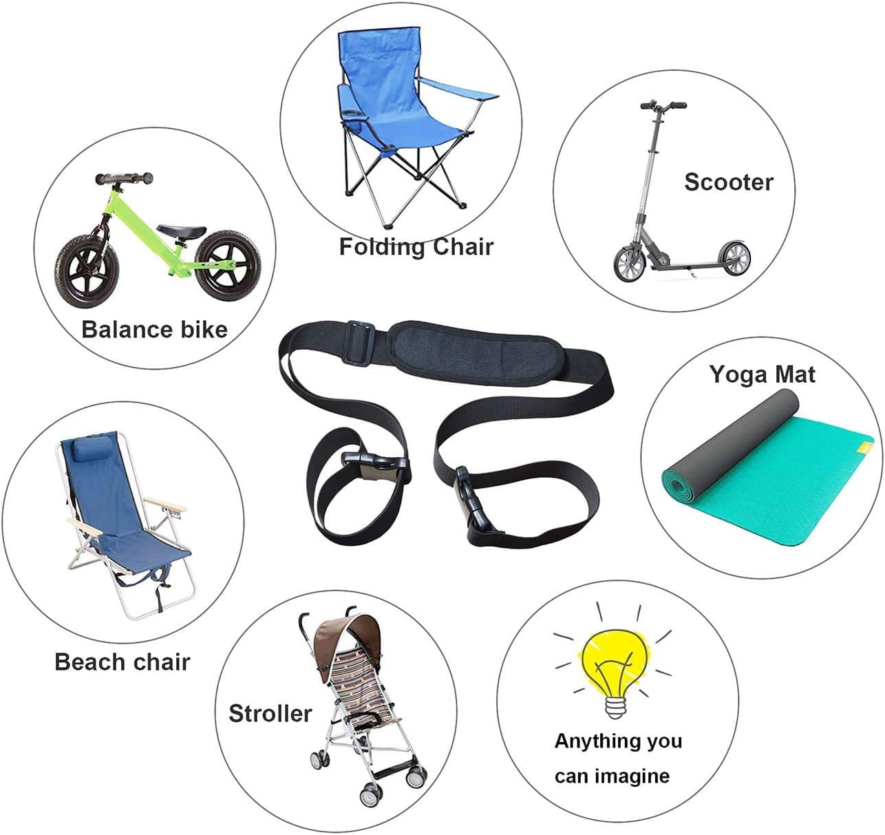 WINGKIND Adjustable Beach Chair Carry Strap Folding Chair Shoulder Strap for Beaches Camping Backpacking Picnics and Other Items