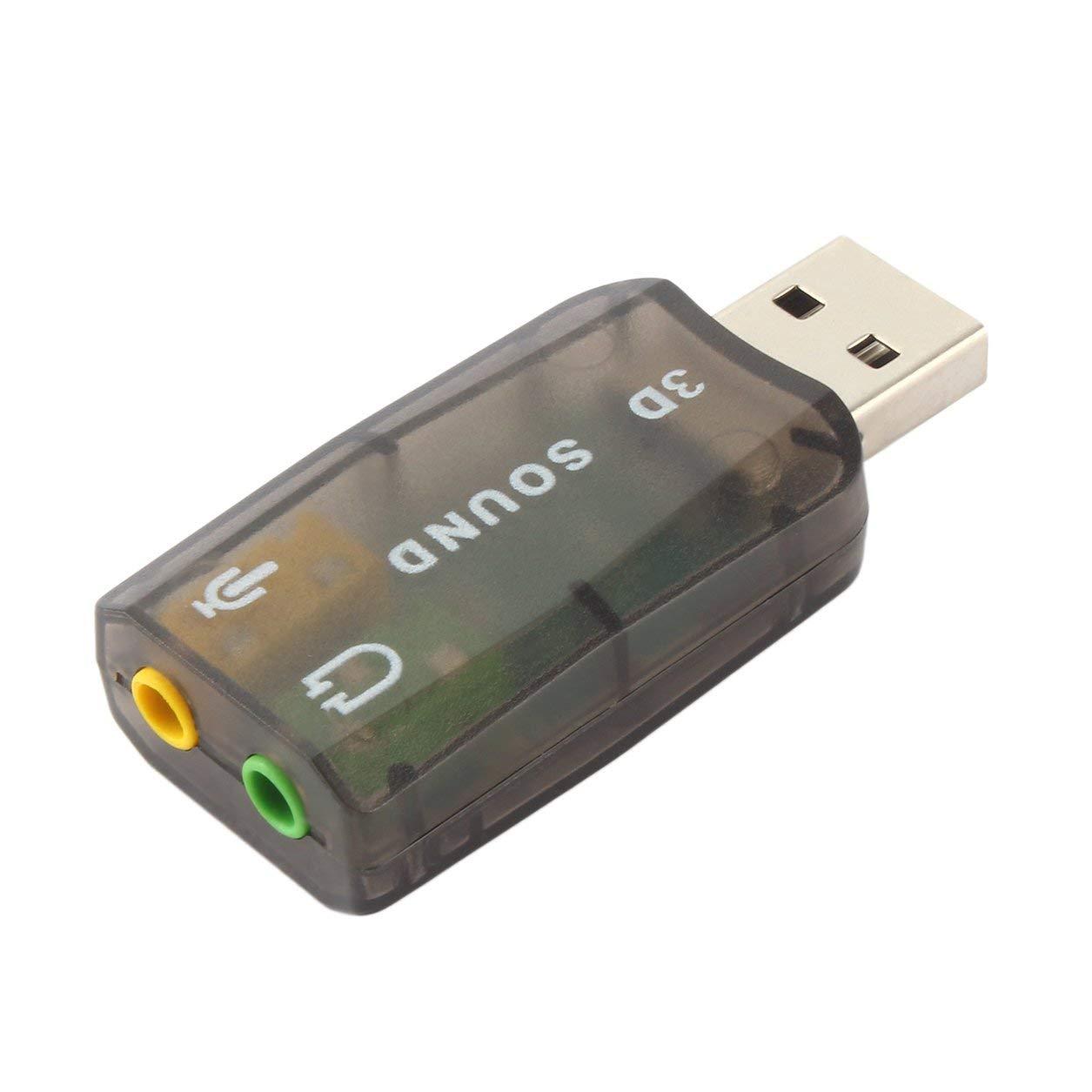 USB2.0 Audio Auriculares Auriculares Auriculares Micrófono Jack Adaptador convertidor con Efecto de Sonido de Fondo Envolvente dinámico (Color: Negro) Dailyinshop