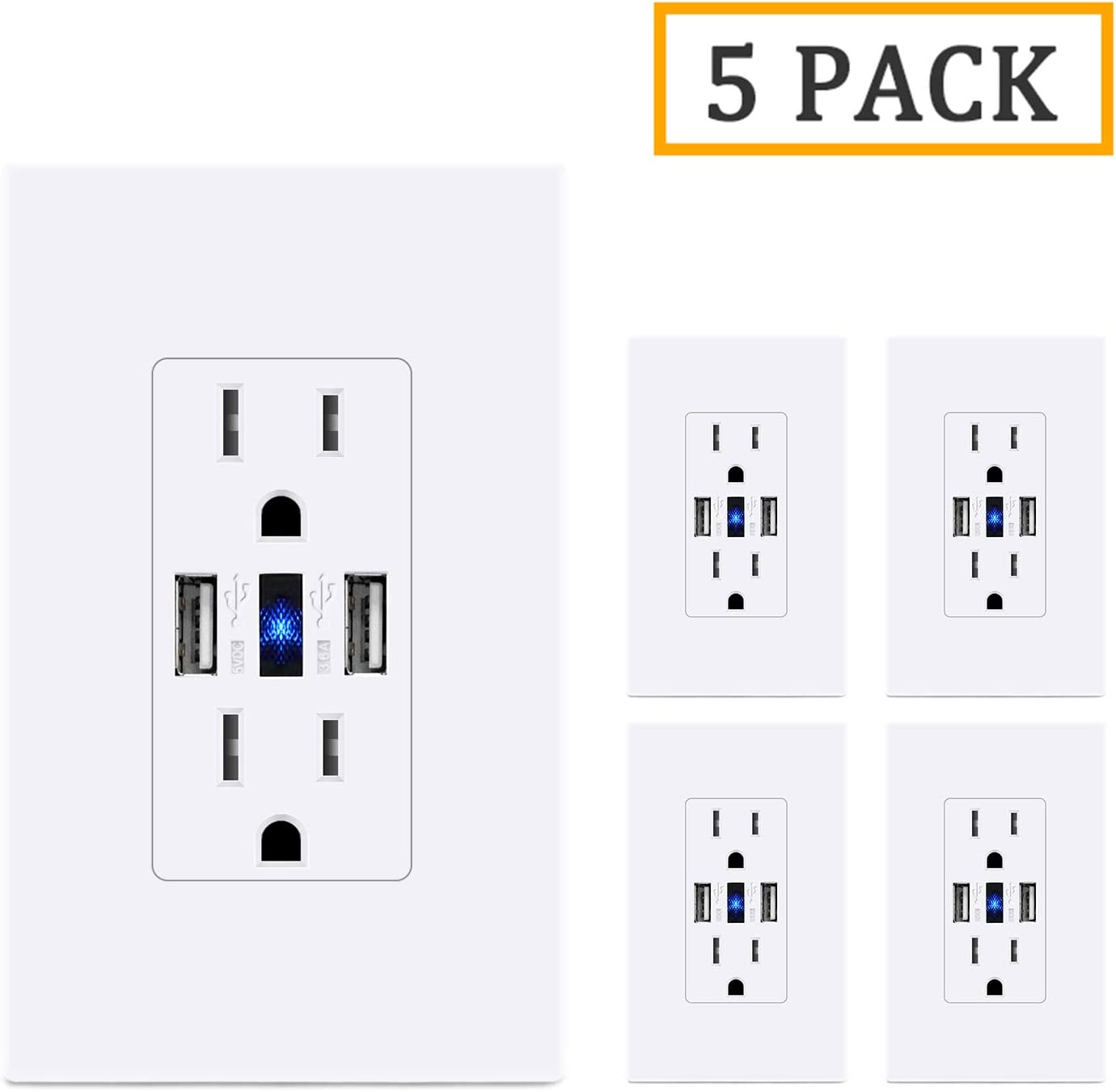 LEISHEN USB Power Outlet,UL Listed 3.6A USB Charger Outlets with 2 USB Charging Ports 15A 125V TR Receptacle Electrical Wall Outlet Screwless Wallplate Included-5 Pack,White