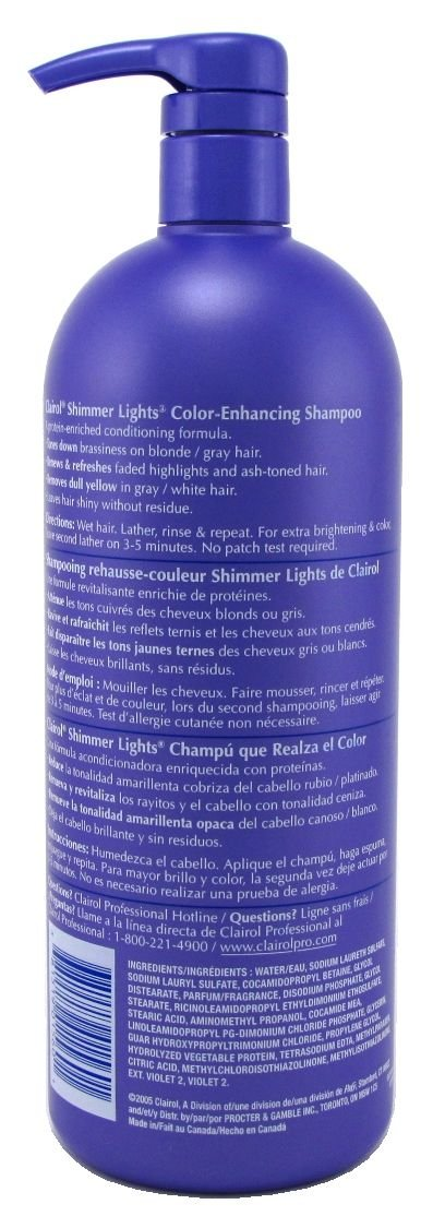 Clairol Shimmer Lights Shampoo, Blonde & Silver 31.5 oz (Pack of 3) by Clairol