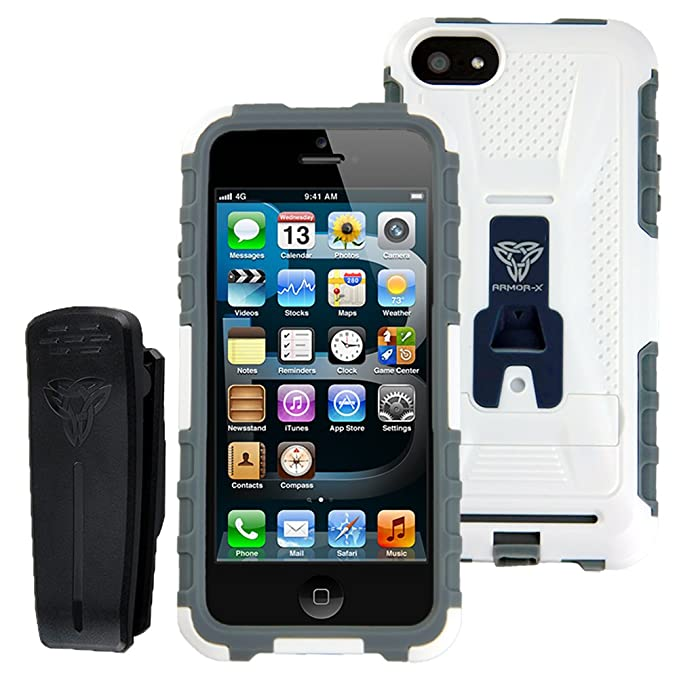 new product 5a933 fda40 Armor-X Rugged Case for iPhone 5 / 5S with Belt Clip & Integrated X-mount  System White+Gray