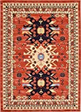 Classic Traditional Geometric Persian Design Area rugs Terracotta 6′ 11 x 10′ Qashqai Heriz rug