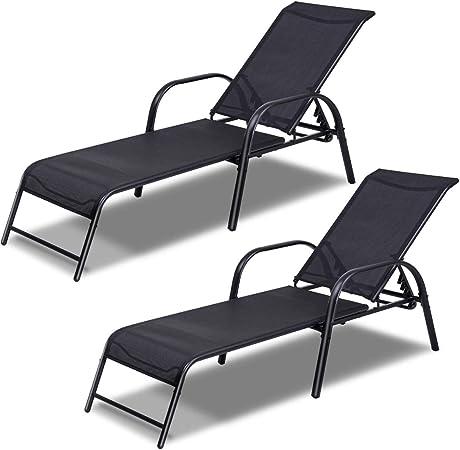 2x Adjustable Metal Garden Deck Chair Folding Portable Headrest