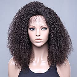 VVHair African American Human Hair Wigs Afro Curly Malaysian Remy Lace Front Wigs with Baby Hair for Black Women Virgin Natural Black Color14 Inch Medium Cap Size