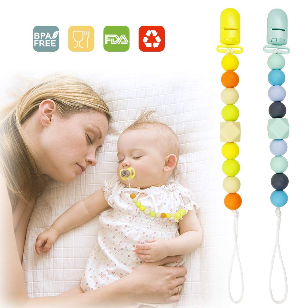 Silicone Pacifier Clip Toy BPA Free Silicone Use with Any Pacifier or Teether Baby Teething Short Chain Pacifier 2 Pack (Color1)