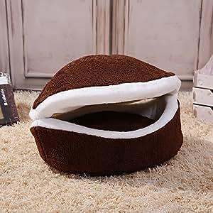 velimax cómodo Cuna para gatos Hamburguesa estilo nido de forma de cáscara, antiviento lavable extraíble